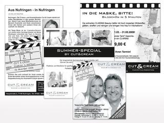 Zeitungsanzeigen für Cut & Cream