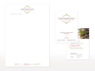 Geschäftsausstattung für Lieblingsblumen